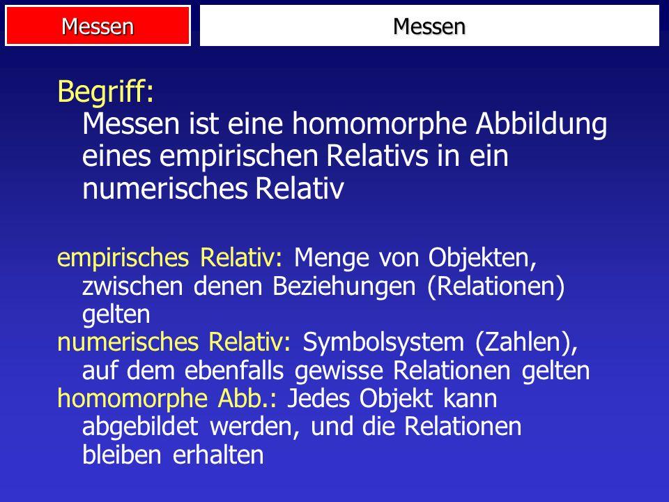 MessenBegriff: Messen ist eine homomorphe Abbildung eines empirischen Relativs in ein numerisches Relativ.