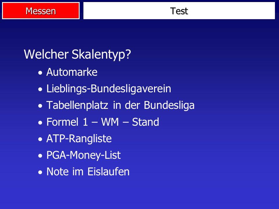 Welcher Skalentyp Automarke Lieblings-Bundesligaverein