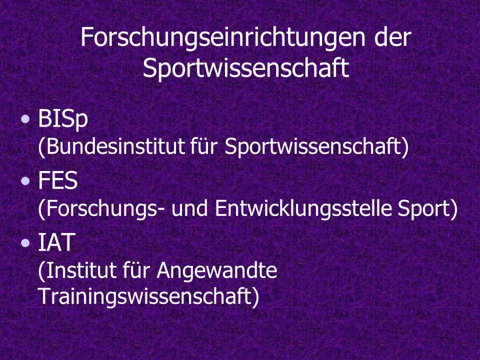 Forschungseinrichtungen der Sportwissenschaft