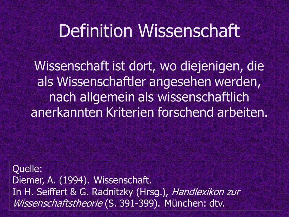 Definition Wissenschaft