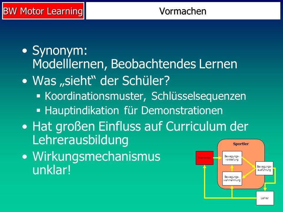 """Synonym: Modelllernen, Beobachtendes Lernen Was """"sieht der Schüler"""