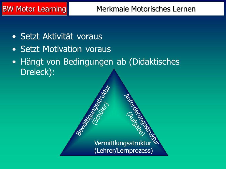 Merkmale Motorisches Lernen