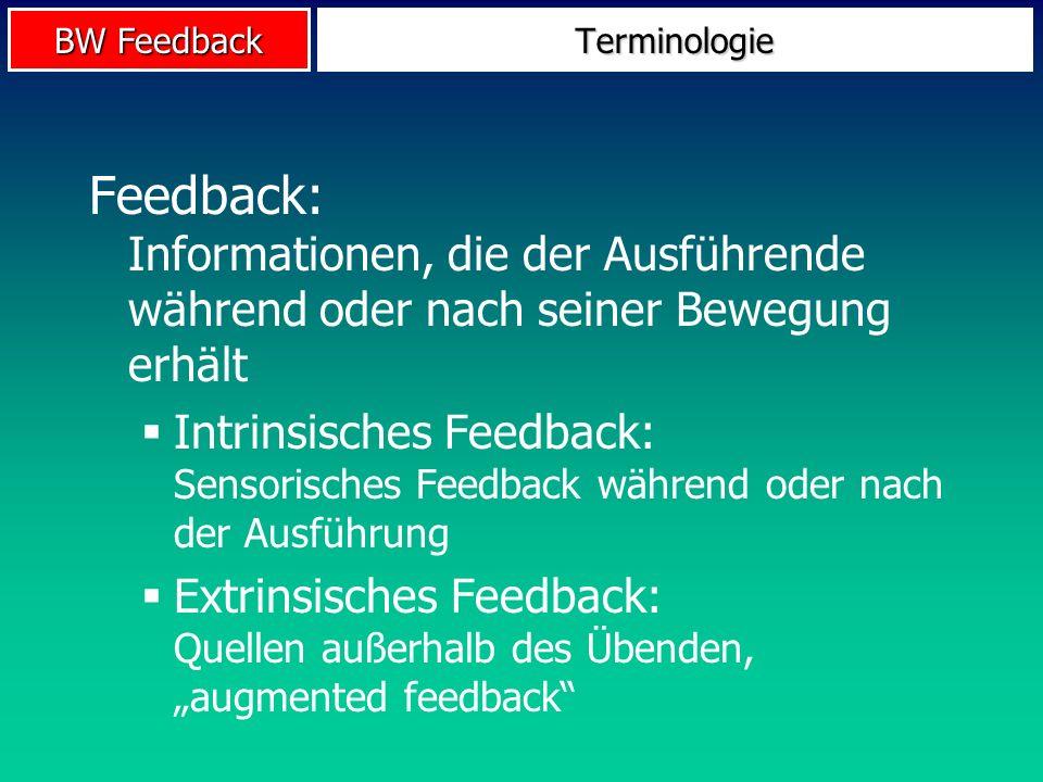 Terminologie Feedback: Informationen, die der Ausführende während oder nach seiner Bewegung erhält.