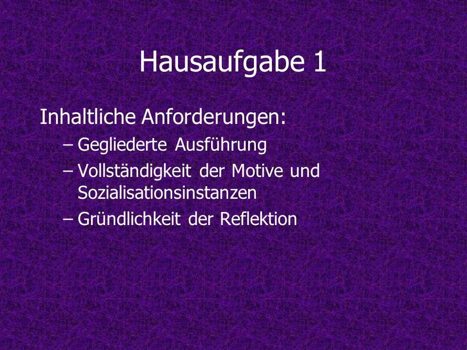 Hausaufgabe 1 Inhaltliche Anforderungen: Gegliederte Ausführung