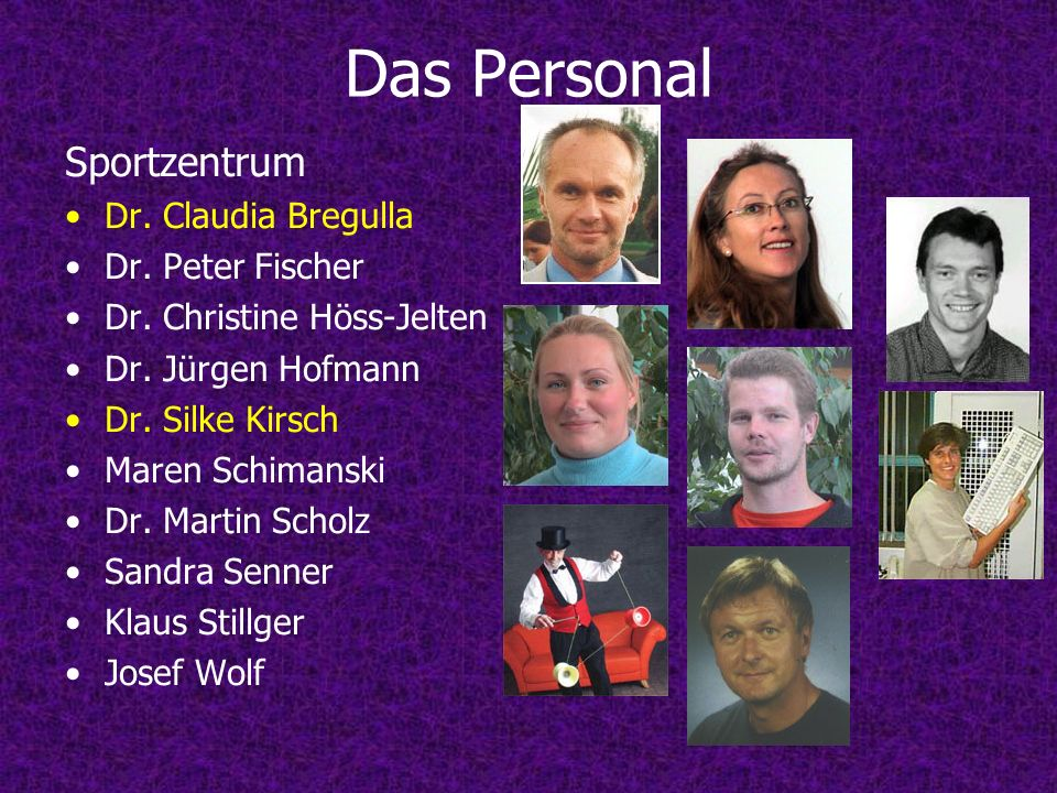Das Personal Sportzentrum Dr. Claudia Bregulla Dr. Peter Fischer
