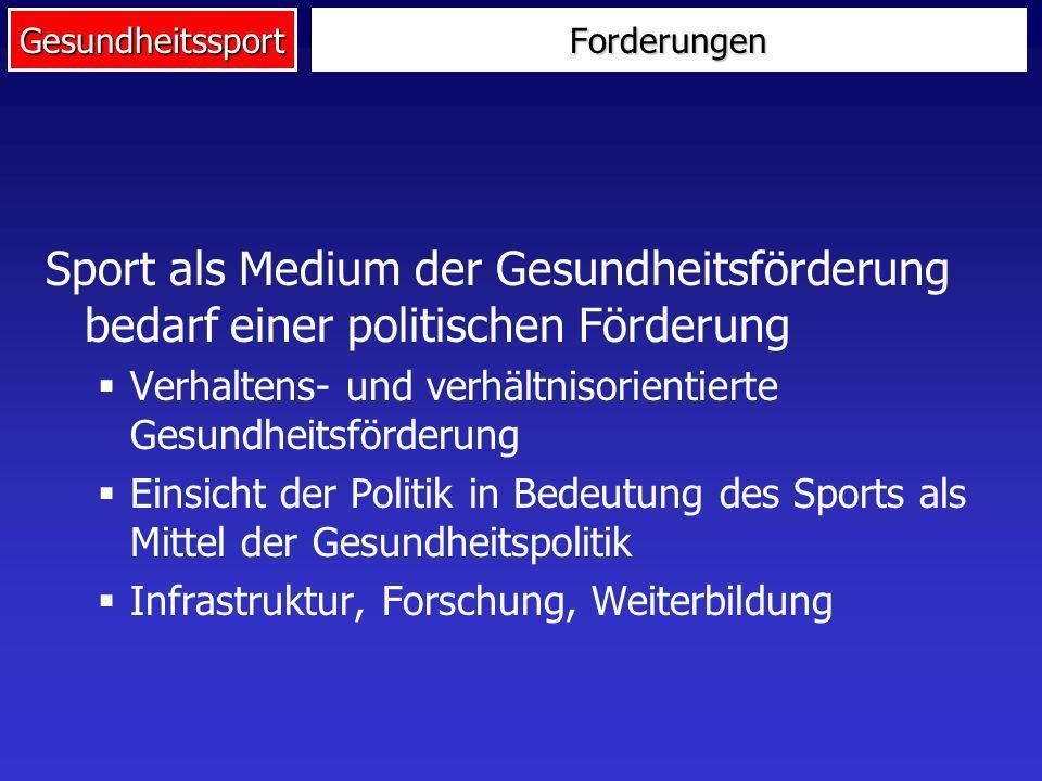 Forderungen Sport als Medium der Gesundheitsförderung bedarf einer politischen Förderung. Verhaltens- und verhältnisorientierte Gesundheitsförderung.