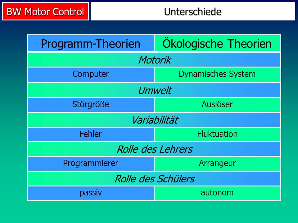 Ökologische Theorien Programm-Theorien Unterschiede Motorik Umwelt