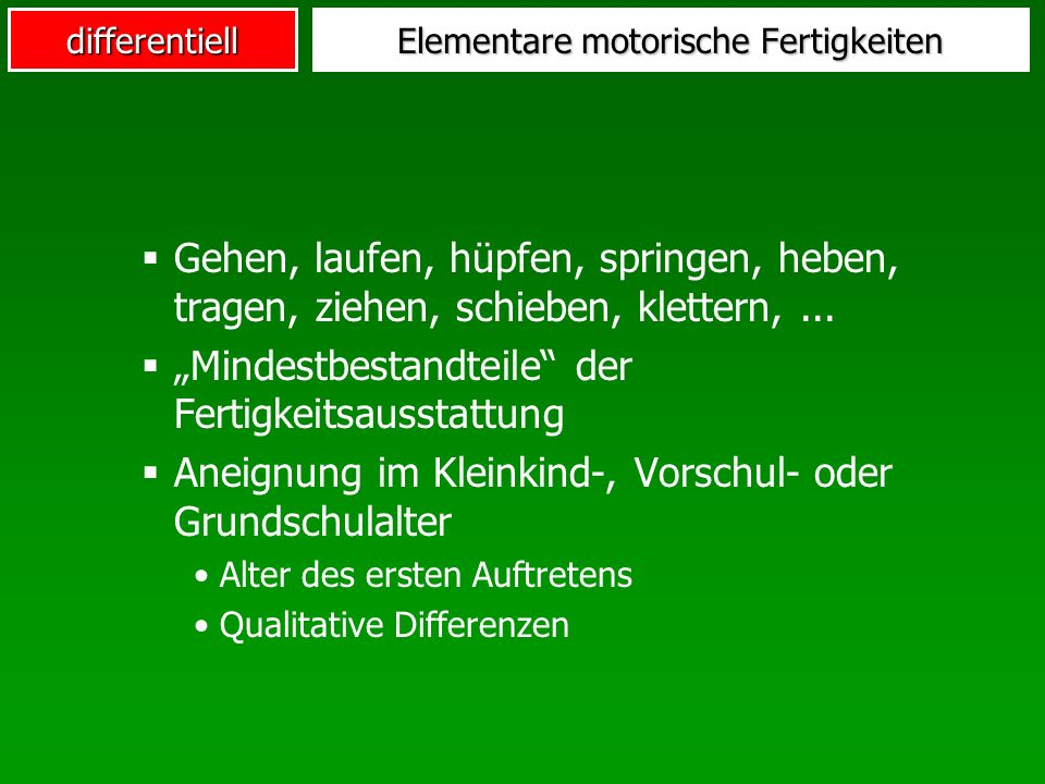 Elementare motorische Fertigkeiten