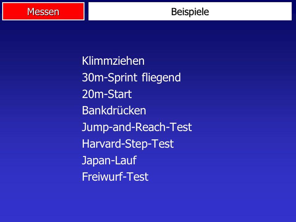 Klimmziehen 30m-Sprint fliegend 20m-Start Bankdrücken