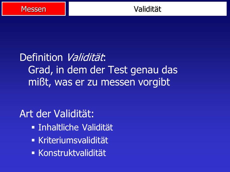 Validität Definition Validität: Grad, in dem der Test genau das mißt, was er zu messen vorgibt. Art der Validität: