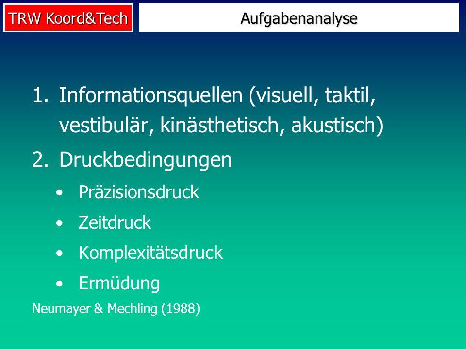 Aufgabenanalyse Informationsquellen (visuell, taktil, vestibulär, kinästhetisch, akustisch) Druckbedingungen.