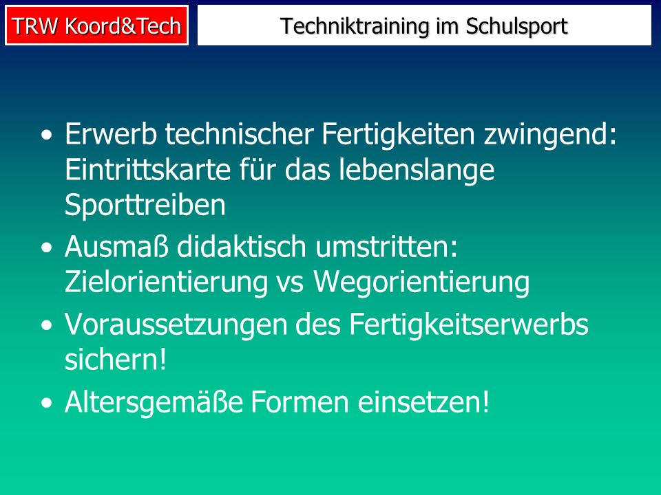 Techniktraining im Schulsport