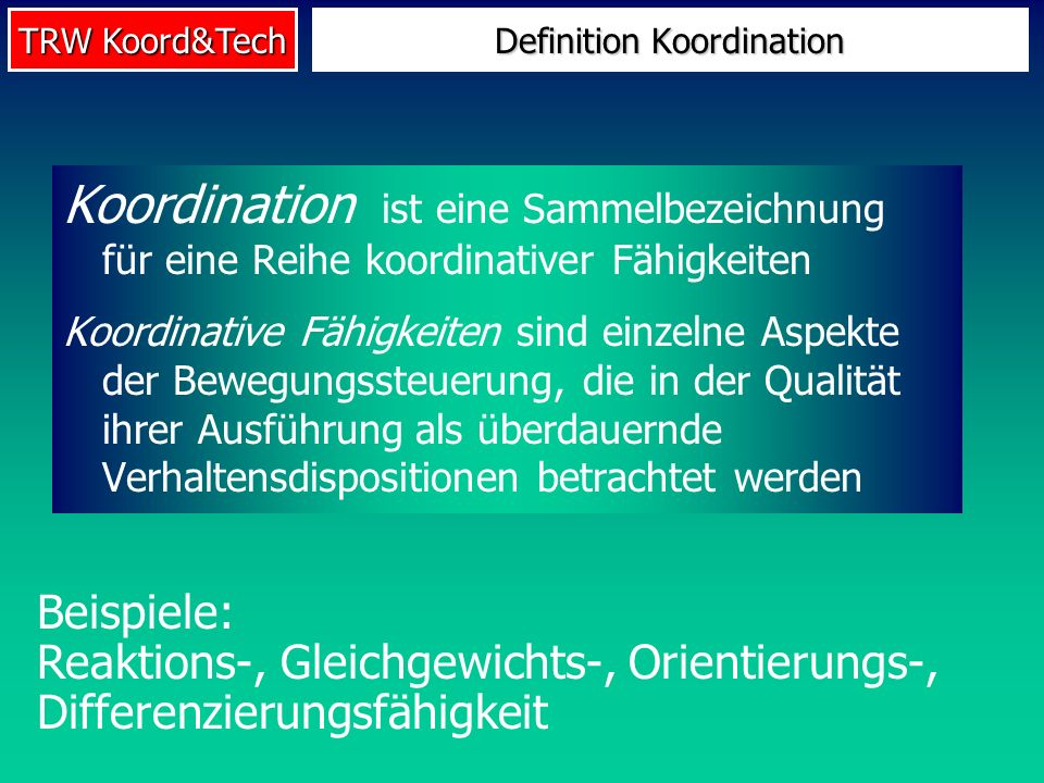 Definition Koordination