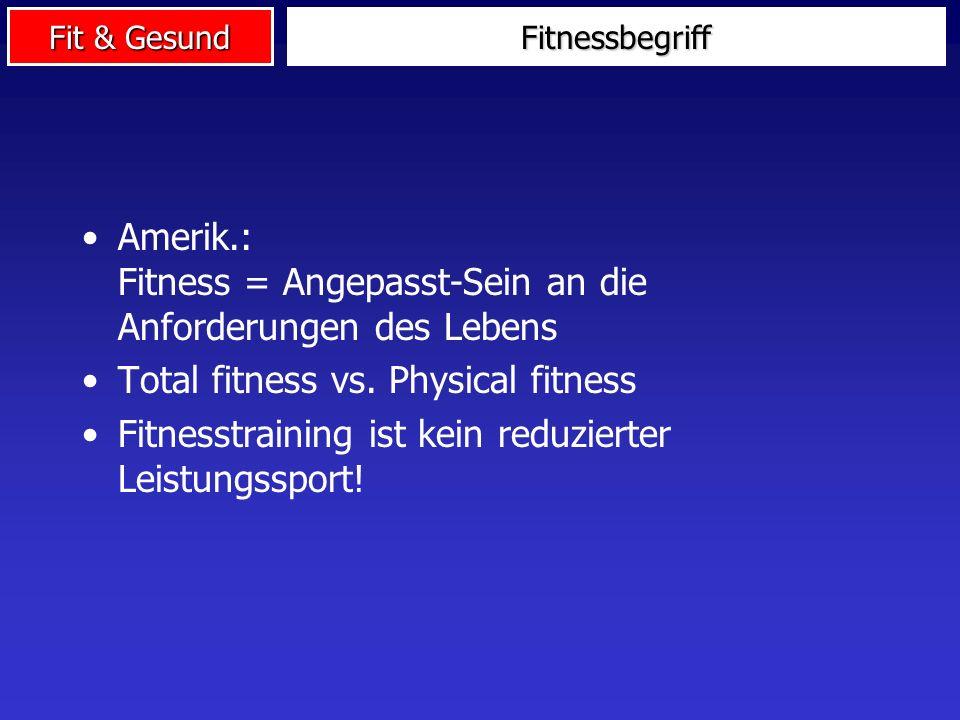 Amerik.: Fitness = Angepasst-Sein an die Anforderungen des Lebens