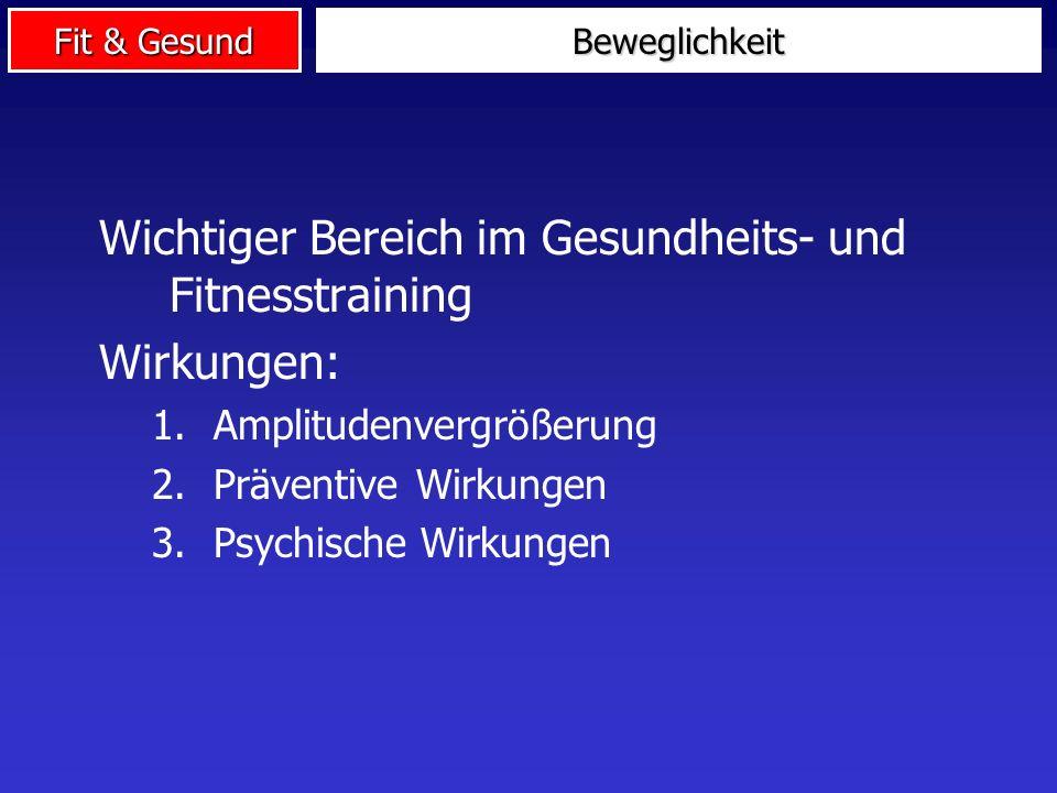 Wichtiger Bereich im Gesundheits- und Fitnesstraining Wirkungen: