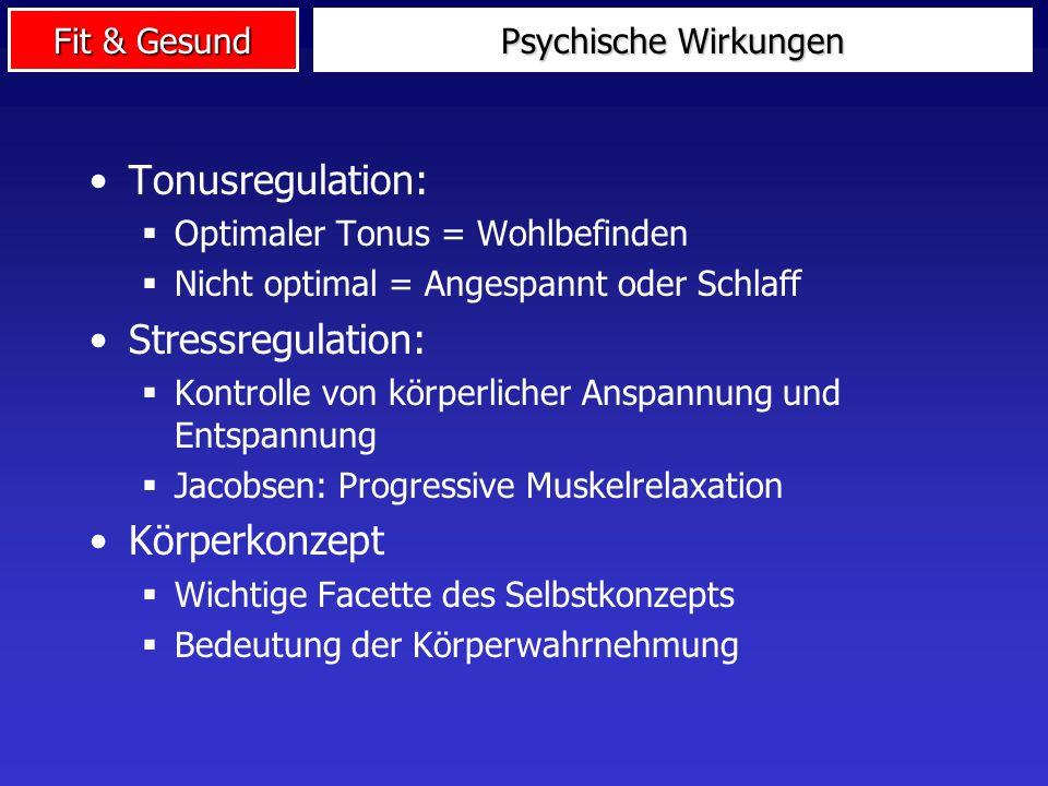 Tonusregulation: Stressregulation: Körperkonzept Psychische Wirkungen