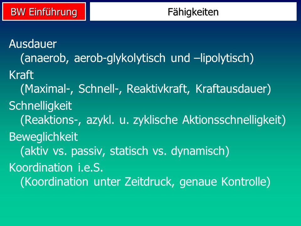Ausdauer (anaerob, aerob-glykolytisch und –lipolytisch)