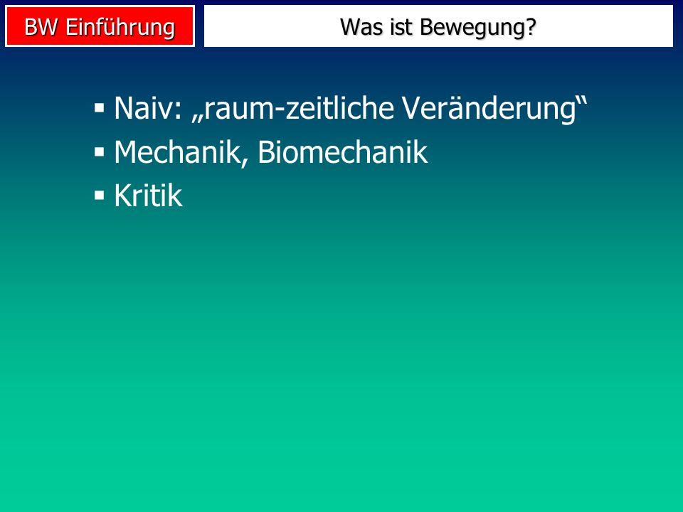 """Naiv: """"raum-zeitliche Veränderung Mechanik, Biomechanik Kritik"""