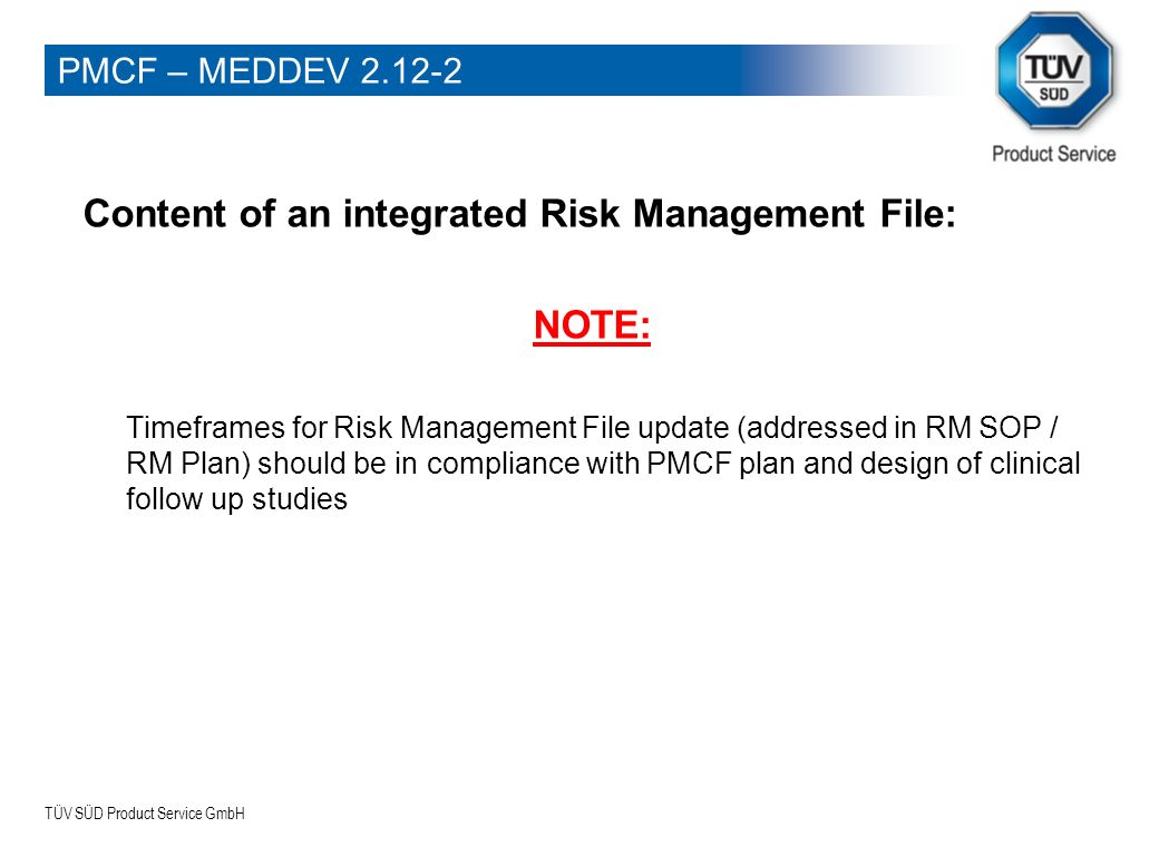 Content of an integrated Risk Management File: NOTE: