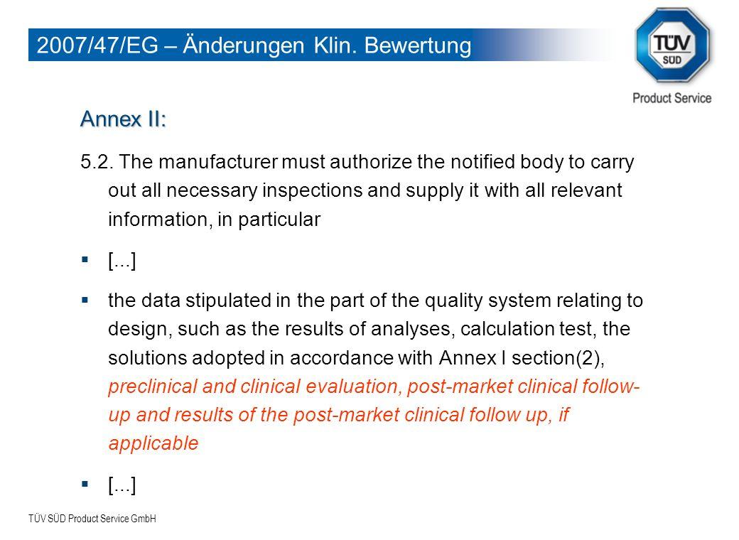 2007/47/EG – Änderungen Klin. Bewertung