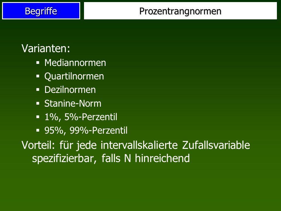 Prozentrangnormen Varianten: Mediannormen. Quartilnormen. Dezilnormen. Stanine-Norm. 1%, 5%-Perzentil.
