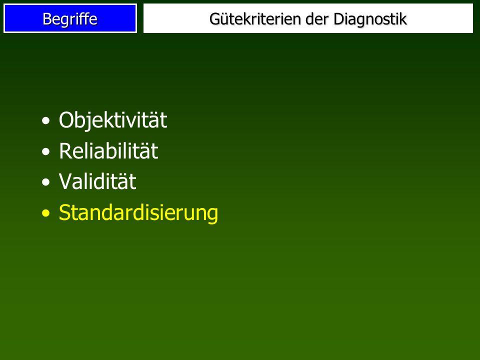 Gütekriterien der Diagnostik
