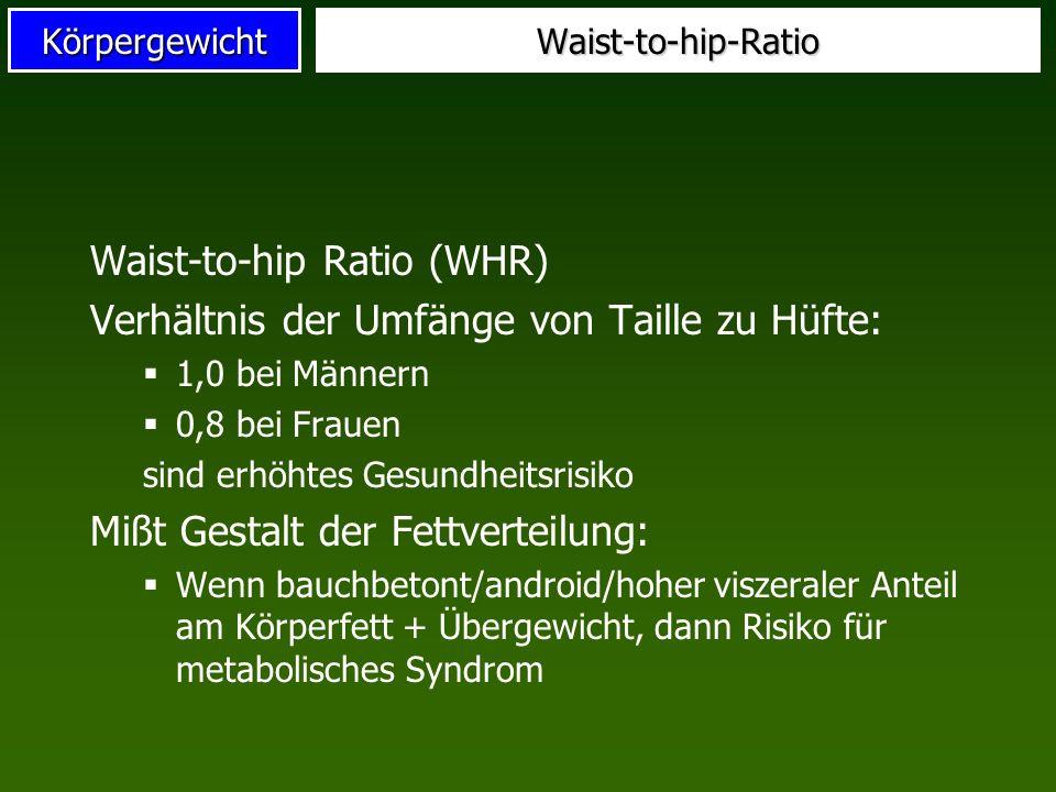 Waist-to-hip Ratio (WHR) Verhältnis der Umfänge von Taille zu Hüfte: