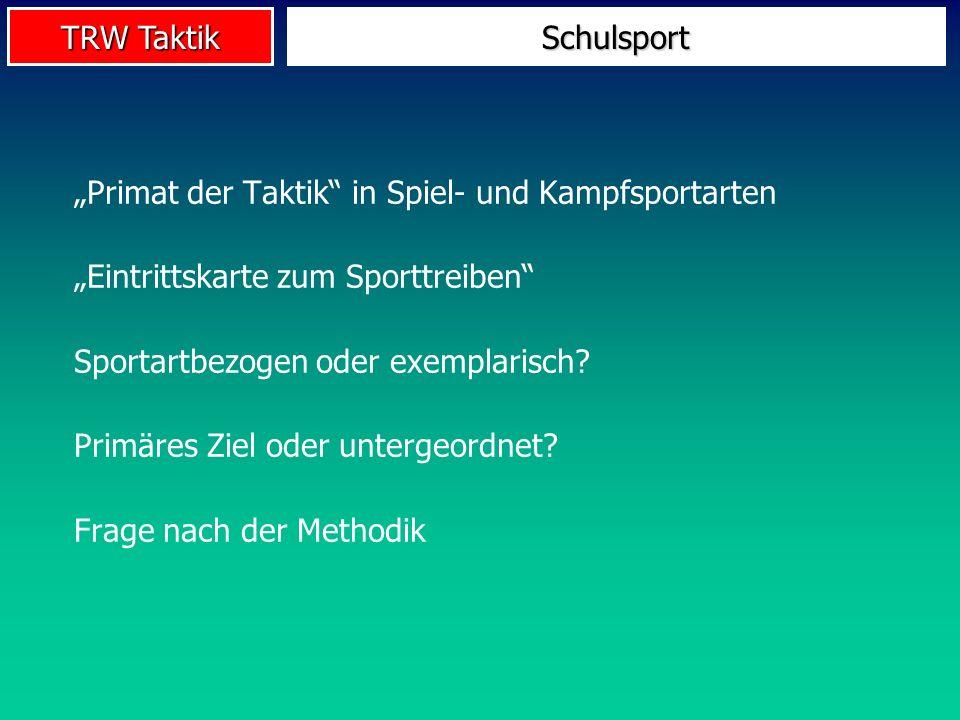 """Schulsport """"Primat der Taktik in Spiel- und Kampfsportarten. """"Eintrittskarte zum Sporttreiben Sportartbezogen oder exemplarisch"""