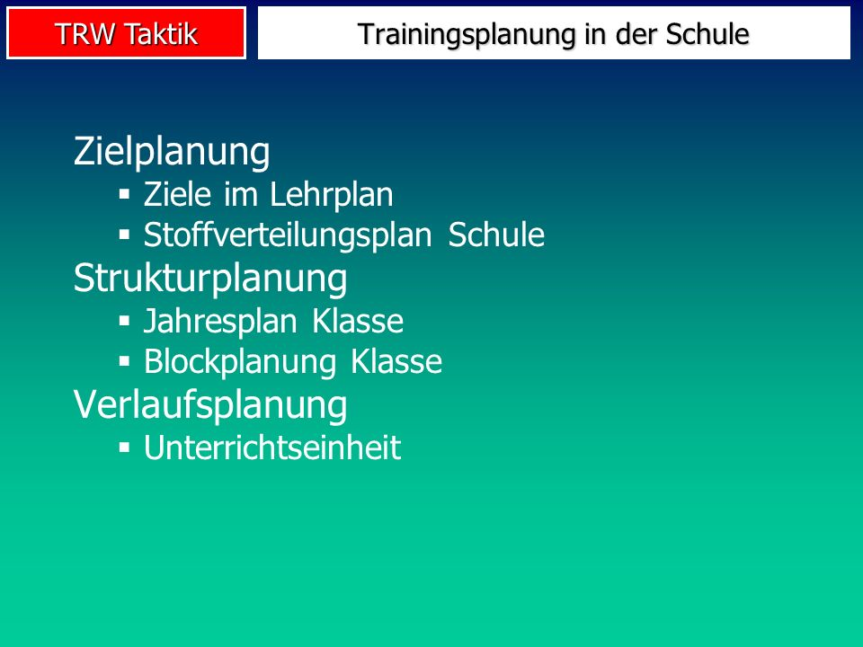 Trainingsplanung in der Schule