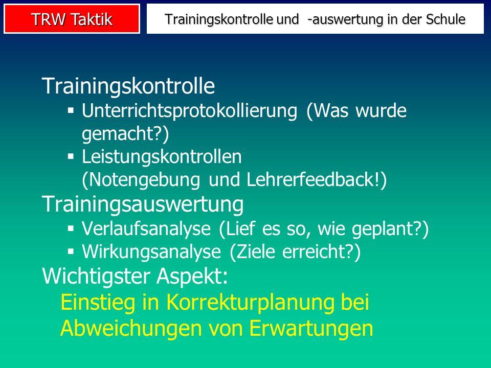Trainingskontrolle und -auswertung in der Schule