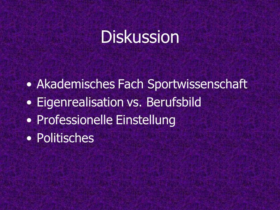 Diskussion Akademisches Fach Sportwissenschaft