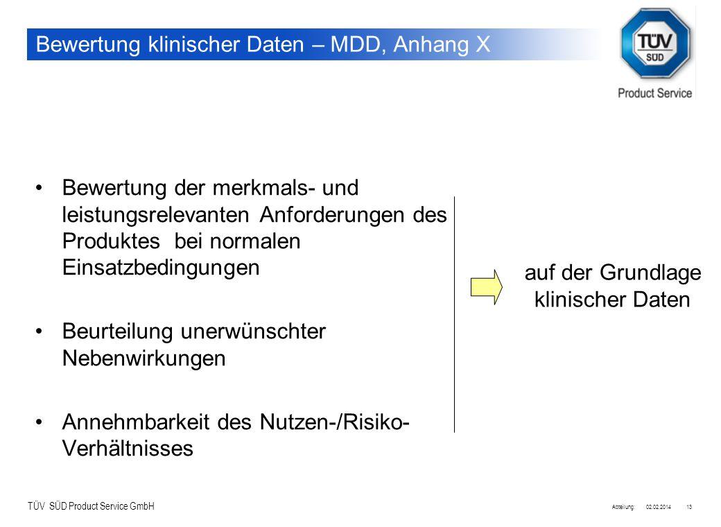 Bewertung klinischer Daten – MDD, Anhang X