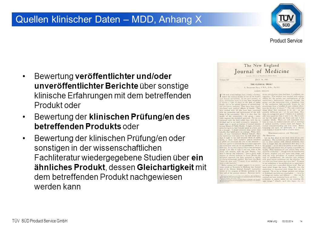 Quellen klinischer Daten – MDD, Anhang X