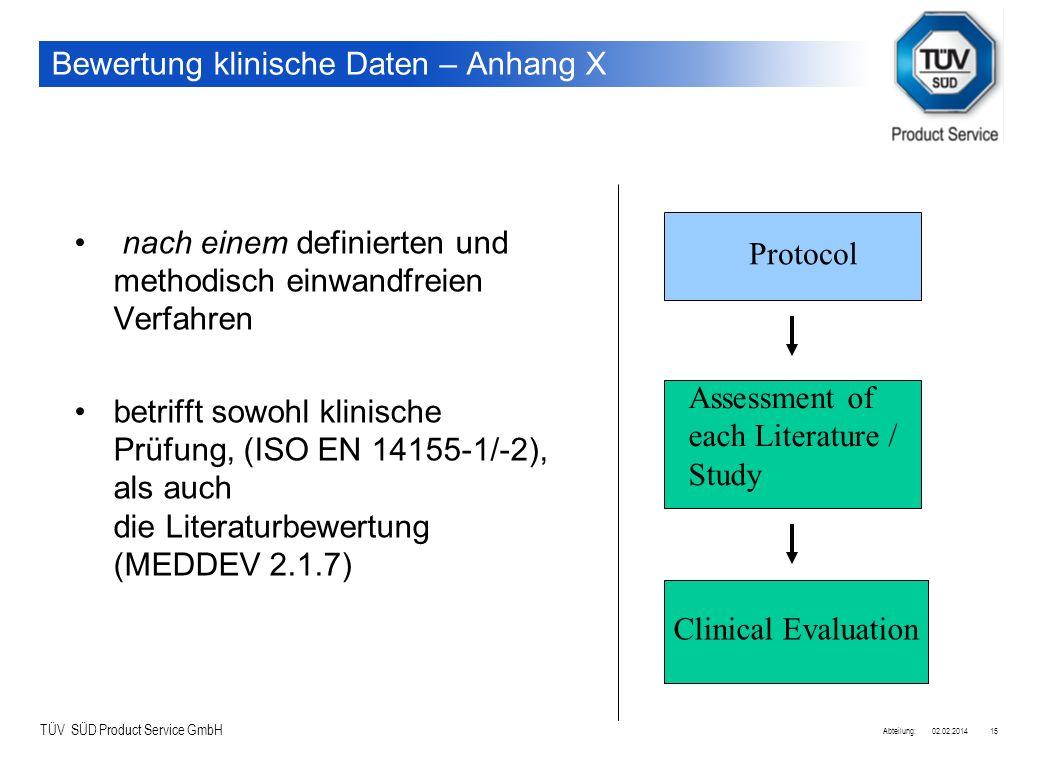 Bewertung klinische Daten – Anhang X