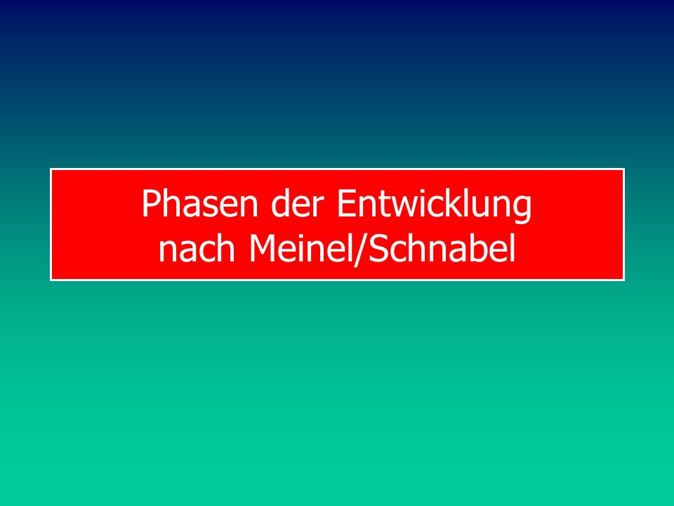 Phasen der Entwicklung nach Meinel/Schnabel