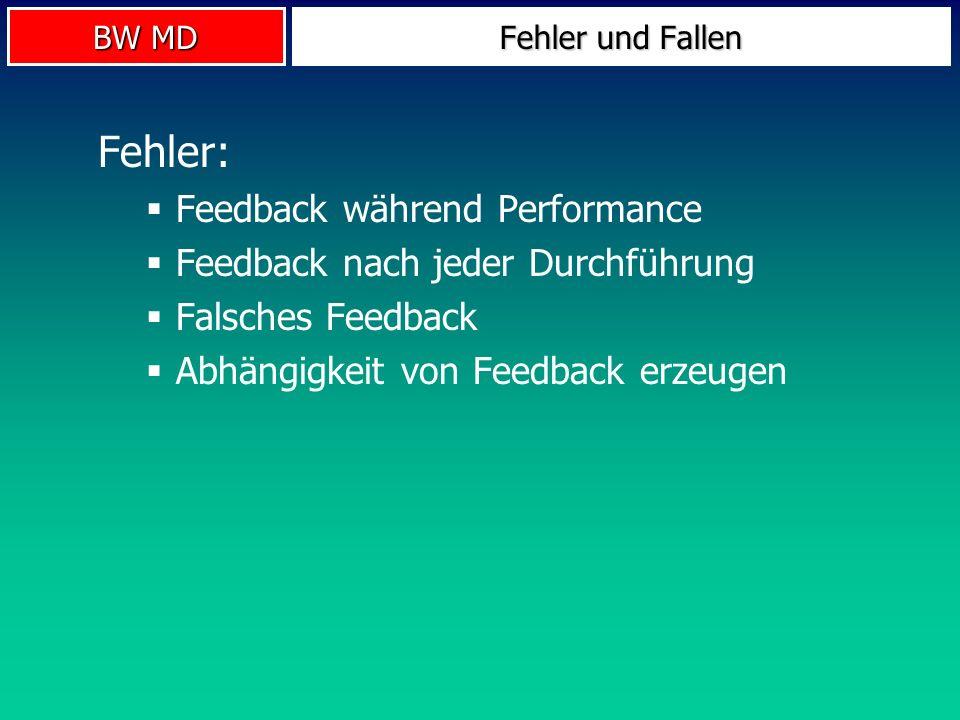 Fehler: Feedback während Performance Feedback nach jeder Durchführung