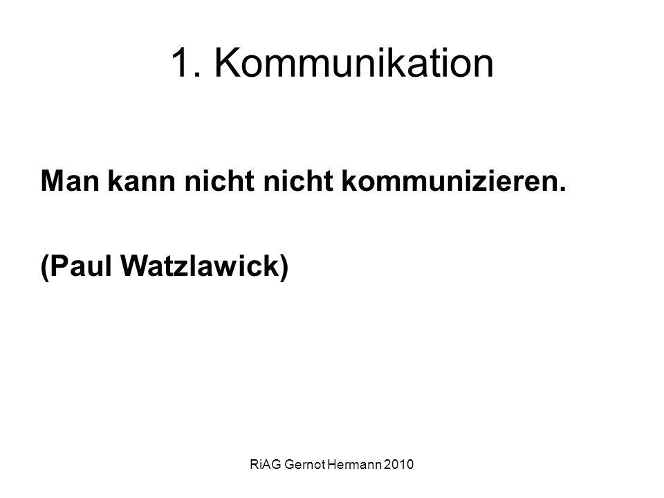 1. Kommunikation Man kann nicht nicht kommunizieren. (Paul Watzlawick)
