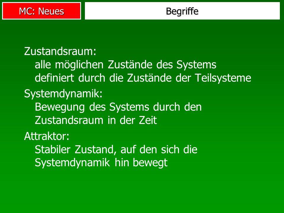 Systemdynamik: Bewegung des Systems durch den Zustandsraum in der Zeit