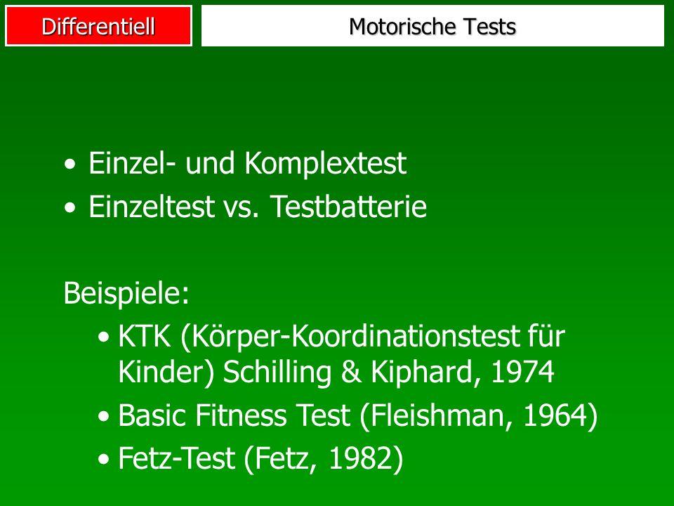 Einzel- und Komplextest Einzeltest vs. Testbatterie Beispiele: