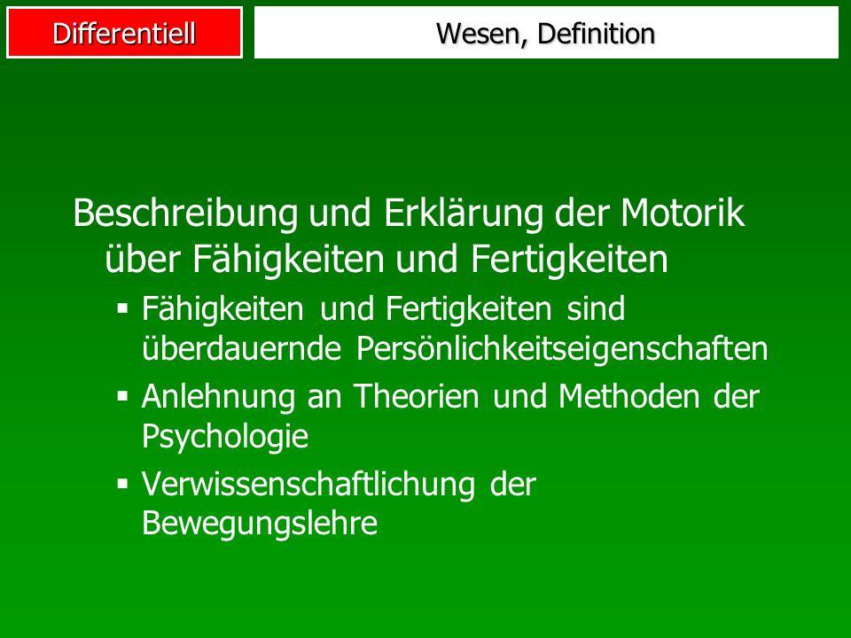 Wesen, Definition Beschreibung und Erklärung der Motorik über Fähigkeiten und Fertigkeiten.