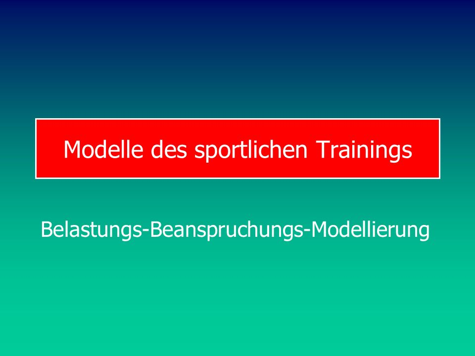 Modelle des sportlichen Trainings