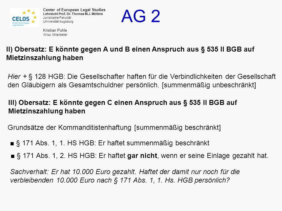 II) Obersatz: E könnte gegen A und B einen Anspruch aus § 535 II BGB auf Mietzinszahlung haben