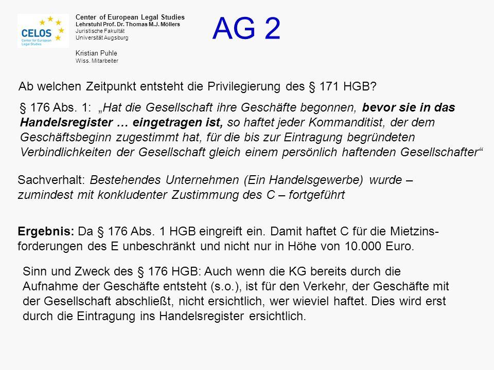 Ab welchen Zeitpunkt entsteht die Privilegierung des § 171 HGB