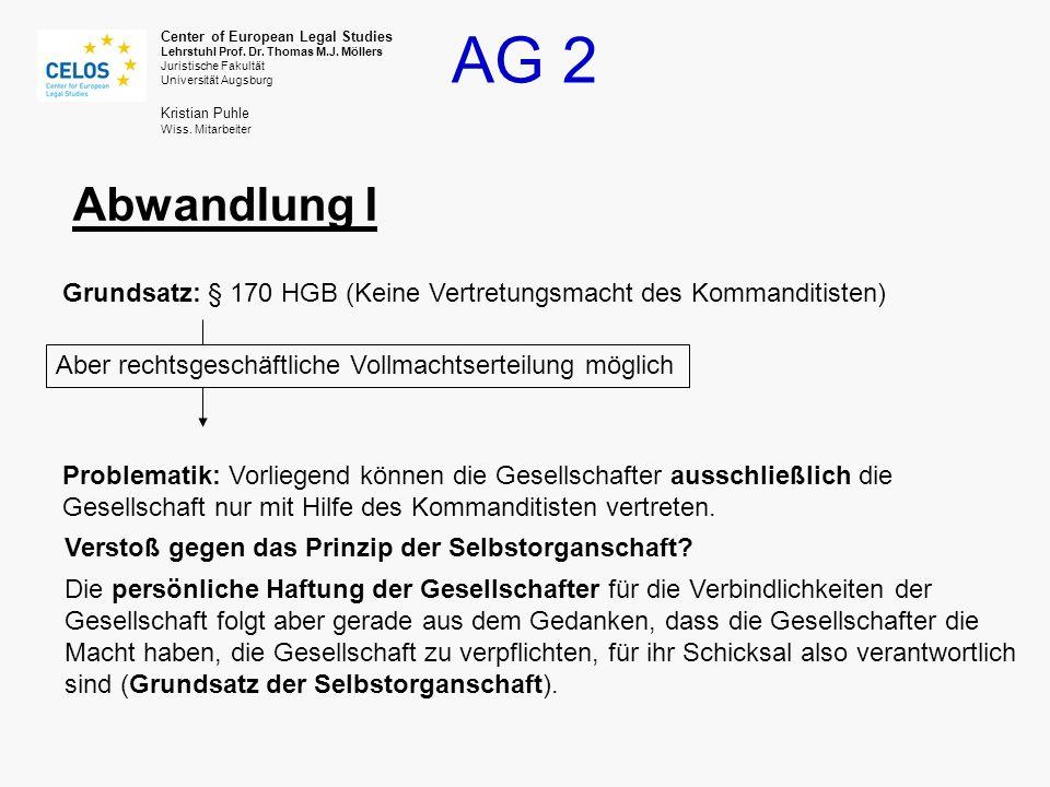 Abwandlung I Grundsatz: § 170 HGB (Keine Vertretungsmacht des Kommanditisten) Aber rechtsgeschäftliche Vollmachtserteilung möglich.