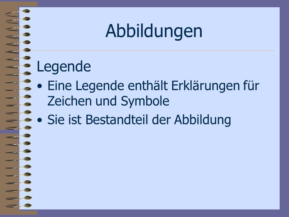 Abbildungen Legende. Eine Legende enthält Erklärungen für Zeichen und Symbole.