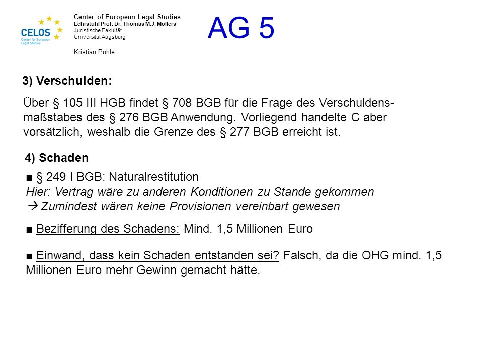 3) Verschulden: Über § 105 III HGB findet § 708 BGB für die Frage des Verschuldens- maßstabes des § 276 BGB Anwendung. Vorliegend handelte C aber.