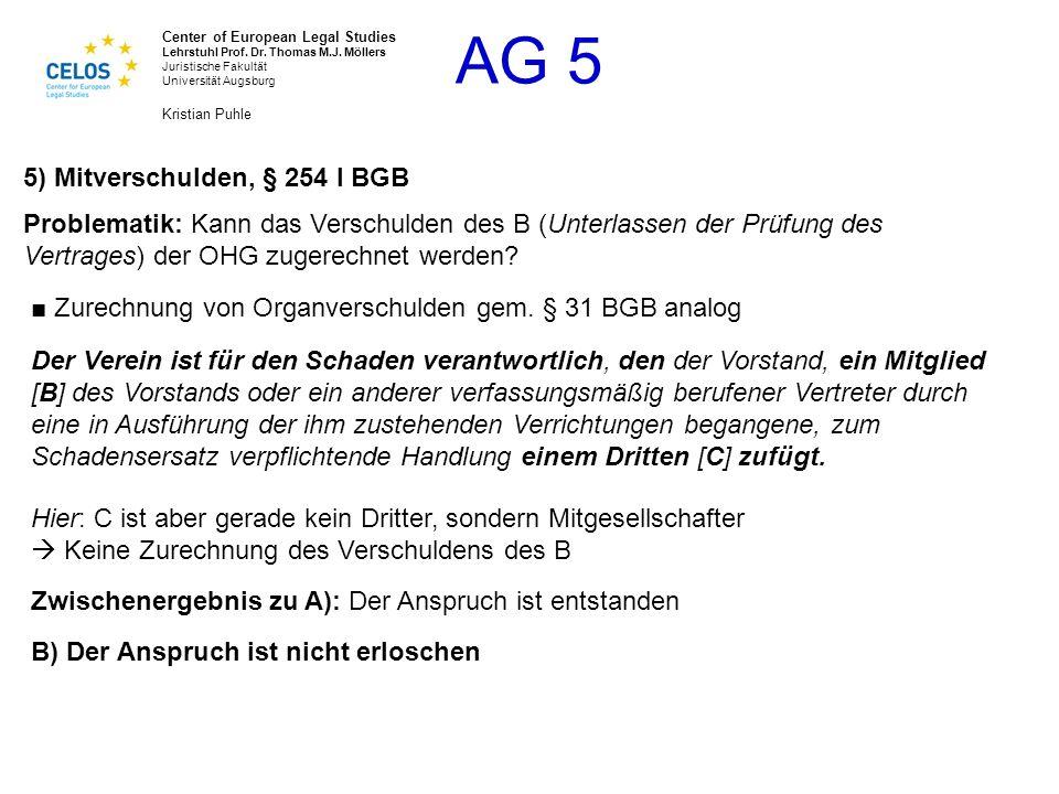 5) Mitverschulden, § 254 I BGB