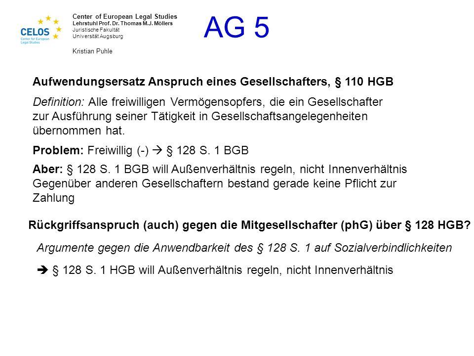 Aufwendungsersatz Anspruch eines Gesellschafters, § 110 HGB