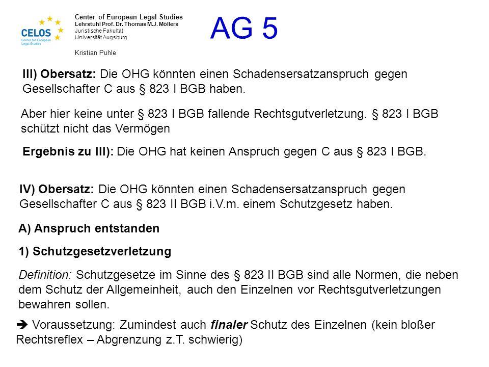 III) Obersatz: Die OHG könnten einen Schadensersatzanspruch gegen