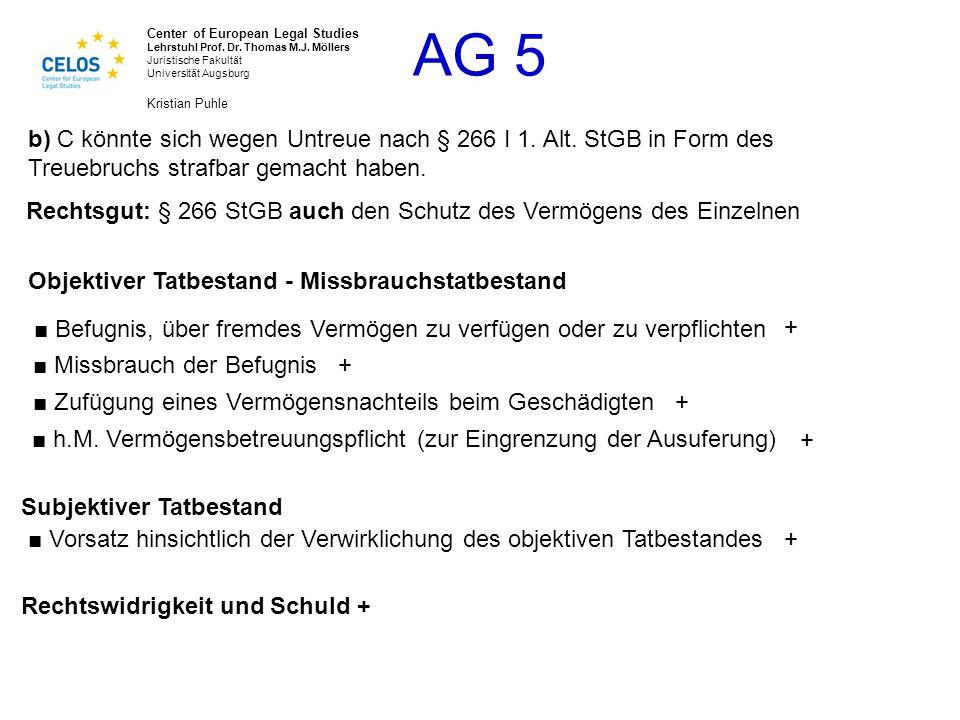 b) C könnte sich wegen Untreue nach § 266 I 1. Alt. StGB in Form des